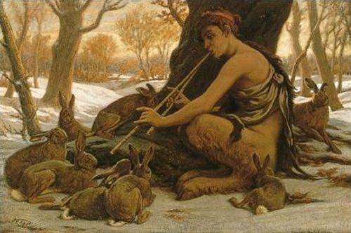 (Marsyas Enchanting the Hares by Elihu Vedder)